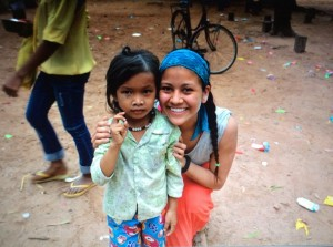 Danielle with her Cambodia student Siem Reap Cambodia Lucid Practice